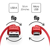 equinux New Tizi Flip – Micro USB (50cm, Red) Data And Charging Cable with Double-Sided Reversible connectors. Both connectors Are Reversible. Cable with a Dual-Sided Micro USB Connector.