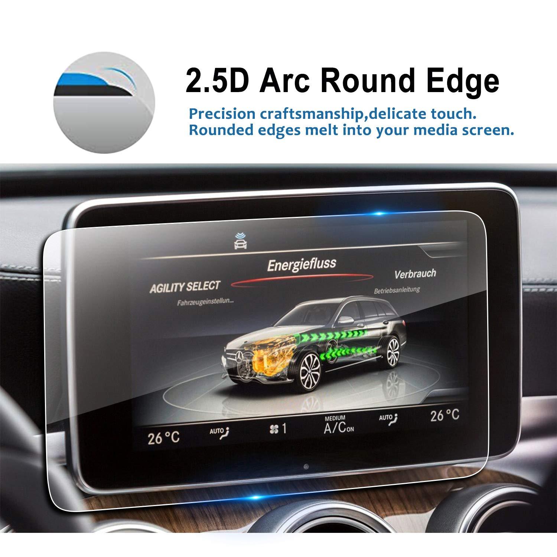 9H Clear Tempered Glass in-Dash Center Touch Display Screen Protector Anti Scratch High Clarity 2018 Benz GLC-Class C Class Car Navigation Screen ProtectorLFOTPP