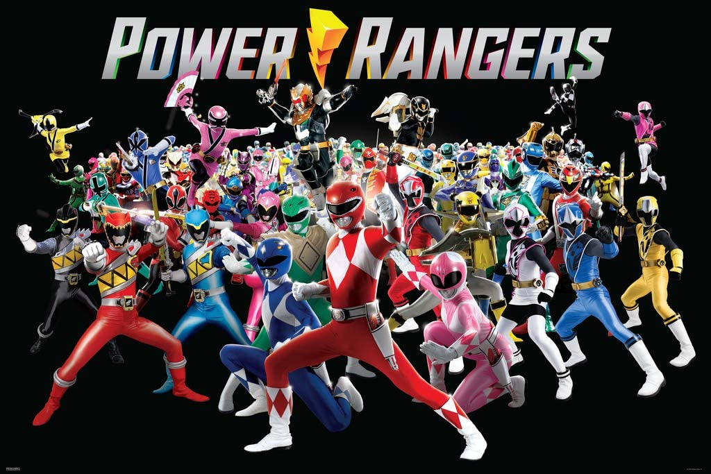 Pyramid America Mighty Morphin Power Rangers Group Retro Vintage Style Cool Wall Decor Art Print Poster 36x24
