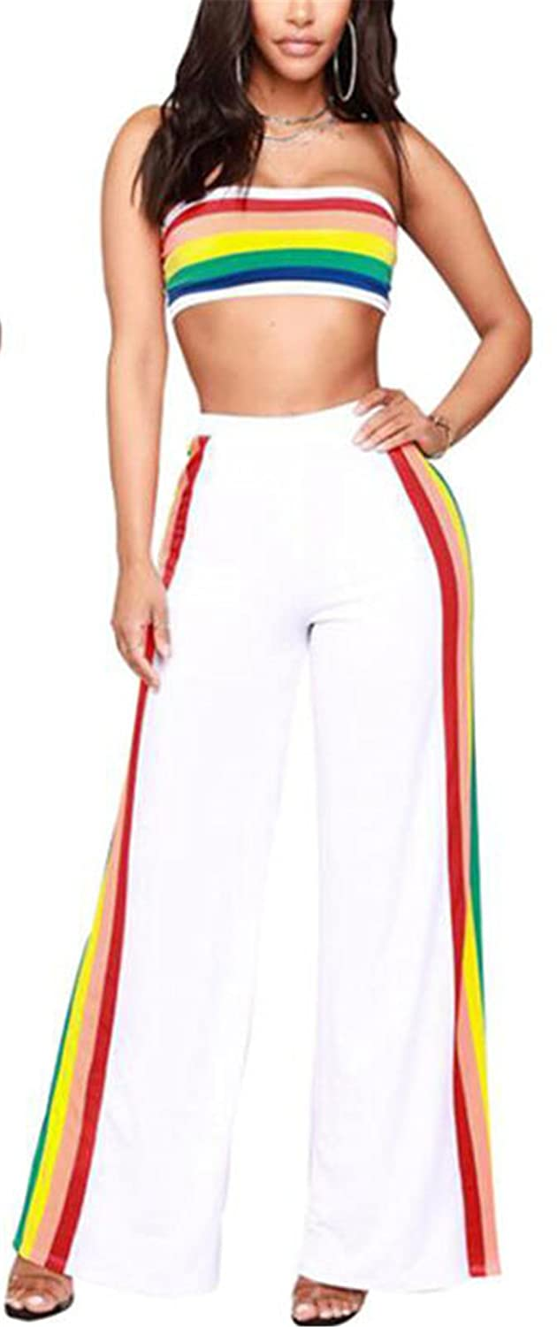 3fb3093026883 Recious Womens Sexy 2PCS Outfit Rainbow Striped Tube Bra Top Wide Leg Pants  Clubwear Tracksuit Set: Amazon.ca: Clothing & Accessories