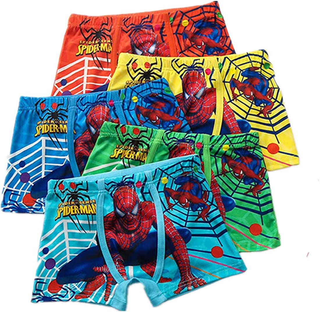 TOHD Boy Underwear Boxers Spiderman Cotton 5-Pack Children Pantie Shorts Kids Accessories