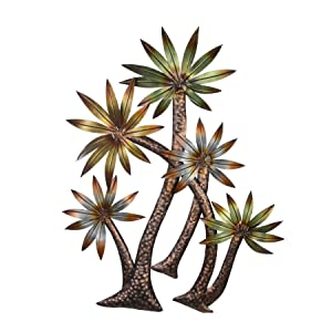 Collectible India Metal Multicolored Sunflower Palm Tree of Life Wall Hanging Art Sculpture Modern Design Home Office Decor(Size 36 x 31 Inches)