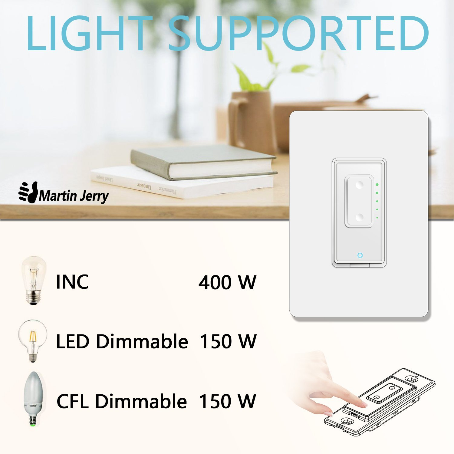 Smart Dimmer Switch by Martin Jerry | SmartLife App, Mains Dimming ONLY, Compatible with Alexa as WiFi Light Switch Dimmer, Single Pole, Works with Google Assistant [For Sale NOW] by Martin Jerry (Image #5)