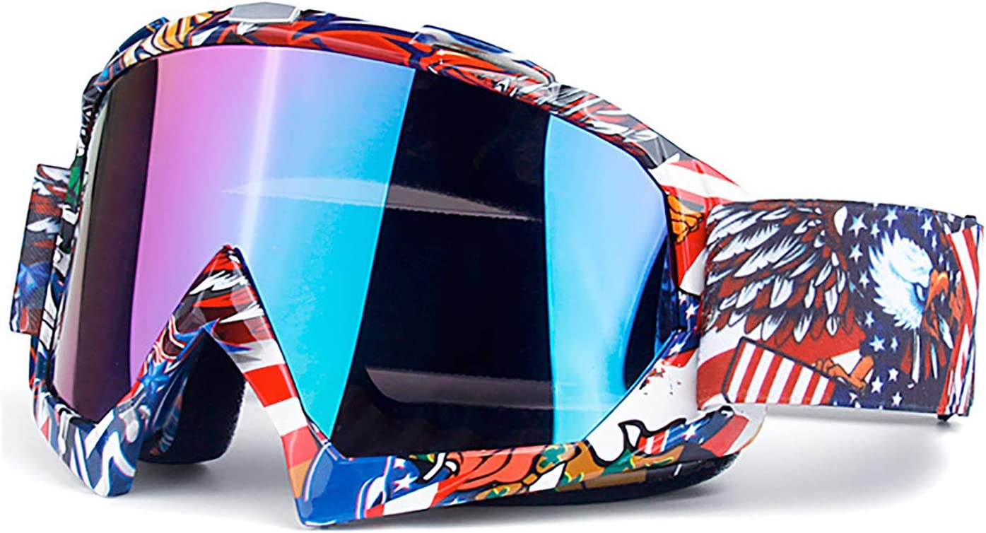 June Sports Motorcycle Motocross Goggles Men Women Youth Kid MX Racing Goggle Dirtbike Off Road Safety Glasses Cycling Motorbike Goggles Skiing Adjusted Strap KG31