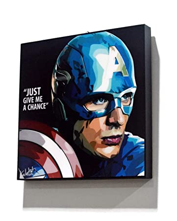 Pop Art Superhero Quotes – Captain America Marvel Avengers Framed Acrylic Canvas Poster Prints Artwork Modern Wall Decor, 10 x10