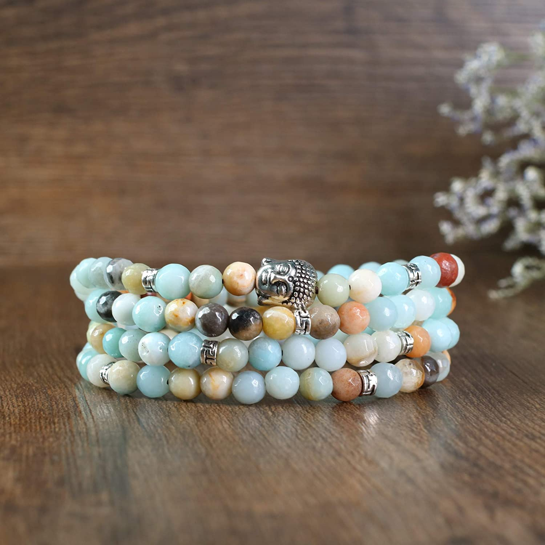 COAI Aamzonite 108 Mala Beads Prayer Stone Bracelet Necklace