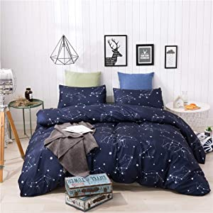 HYPREST Twin Duvet Cover Set - Soft Breathable Durable Blue Duvet Cover Twin for Kids Boys Girls with 1 Pillowcase and 1 Duvet Cover(Not Including Comforter)