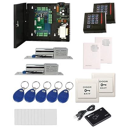 Amazon com : 2 Doors RFID Door Lock System Kit Electric bolt lock