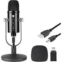 ODAR Micrófono USB Condensador, Micrófono USB con Tripié, Microfono con Soporte para PC, Plug & Play Mic Podcast…