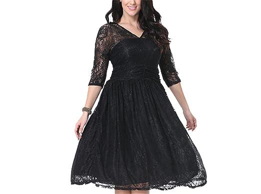 SuperLouisa Fashion vestido de renda metade das mulheres manga Com Decote Em V sexy vestido de