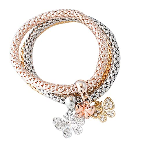 Amazon Trolax 3Pcs Gold Silver Rose Gold Bracelets Set Bangle