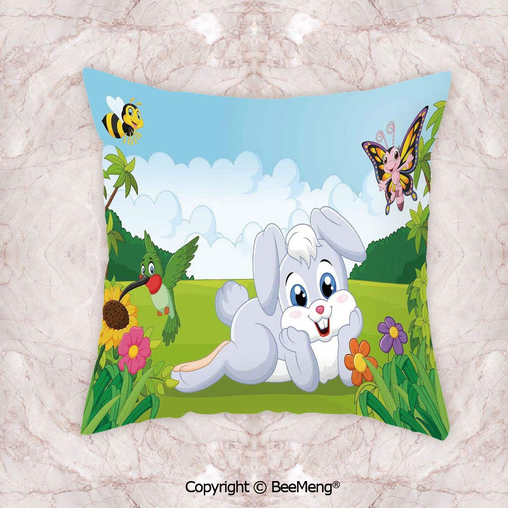 Square Throw Pillow Waist Cushion,Kids,Rabbit On The Grass with Bee and Birds Flowers Children Cartoon Fun Design,Multicolor,17.7x17.7 Inch,Soft and Comfortable Healthy Kids Room
