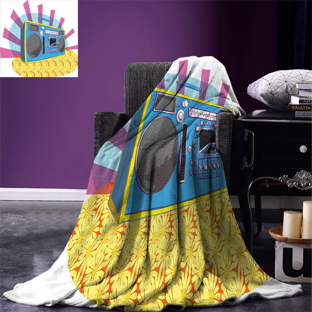 smallbeefly 70s Party Decorations Digital Printing Blanket Retro Boom Box in Pop Art Manner Dance Music Colorful Composition Summer Quilt Comforter Multicolor