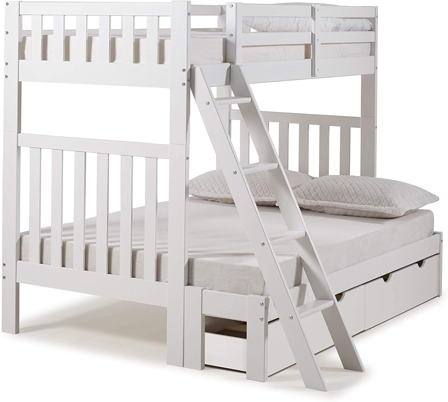 Alaterre Furniture Aurora Twin Over Full Wood Bed with Storage Drawers, White Bunk