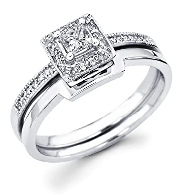 670deaa44 14k White Gold Solitaire Princess Cut Diamond Bridal Engagement Ring Set w/Matching  Wedding Band (1/3 cttw, 1/5 ct Center, G-H Color, I1 Clarity)