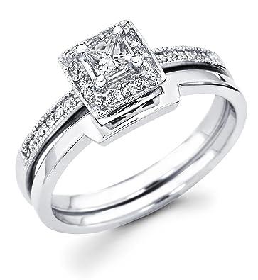 size 4 14k white gold solitaire princess cut diamond bridal engagement ring set w - Princess Cut Diamond Wedding Ring Sets