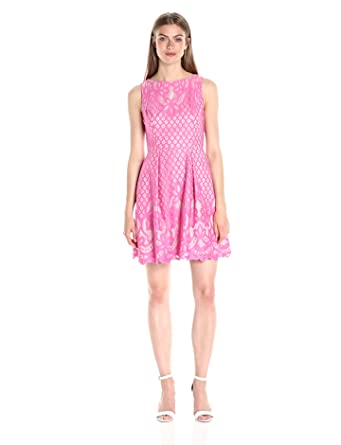 66a6cc3506 Adrianna Papell Women s Giselle Lace Fit and Flare Dress at Amazon ...