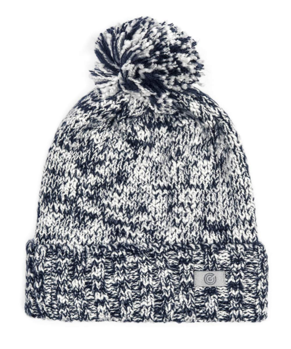 Evony Pom Pom Cuffed Beanie (Blue and White)