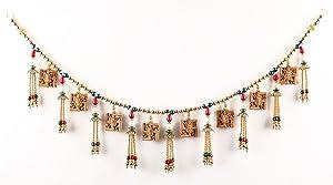 Itiha Multicolour Two Sided Ganesha on Swastik with Om Toran Door Hanging Toran/Door Hanging/Home Decor Pooja bandanwaar Diwali Gift Door Valance - 3 feet