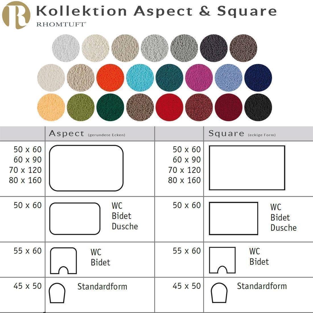 Rhomtuft Badematte Aspect, Farbe  kiesel, Größe Größe Größe  70x120cm e0f7f0