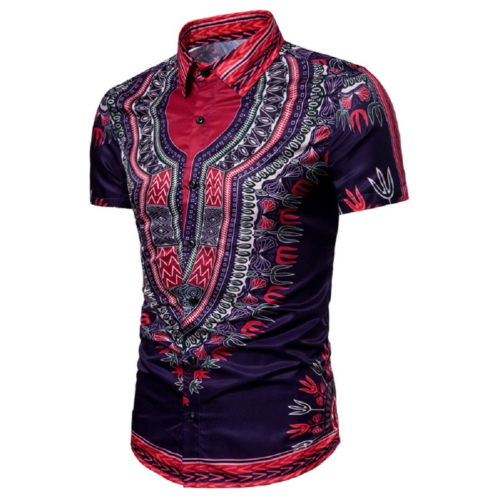 Love Needs Mens Regular Fit Shirts Short Sleeve Ethnic Printed Purple Dress Shirt 2XL