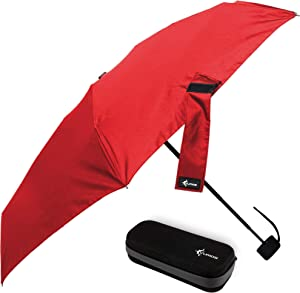 Travel Umbrella with Waterproof Case - Small and Compact for Backpack or Purse. Great Umbrella for Women, Men or Kids. (Classic Red)