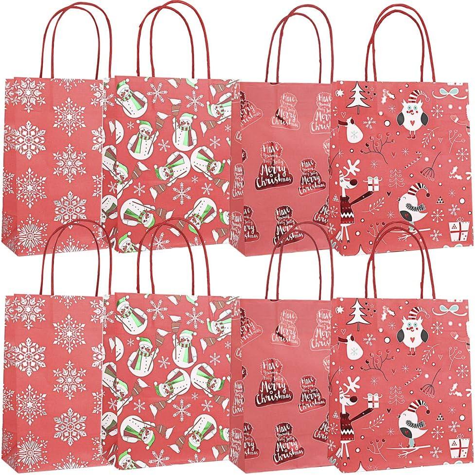 Business Foire Artisanale Mariage Pveath Sac Cadeau No/ël Bag 8 Sacs en Papier de No/ël avec poign/ée Cadeau de f/ête Durable pour Le Shopping Marchandise Cadeaux Style-1 f/ête