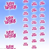 Pink Glitz Happy Birthday 5 Feet Hanging Decoration - Pack of 6 Strings