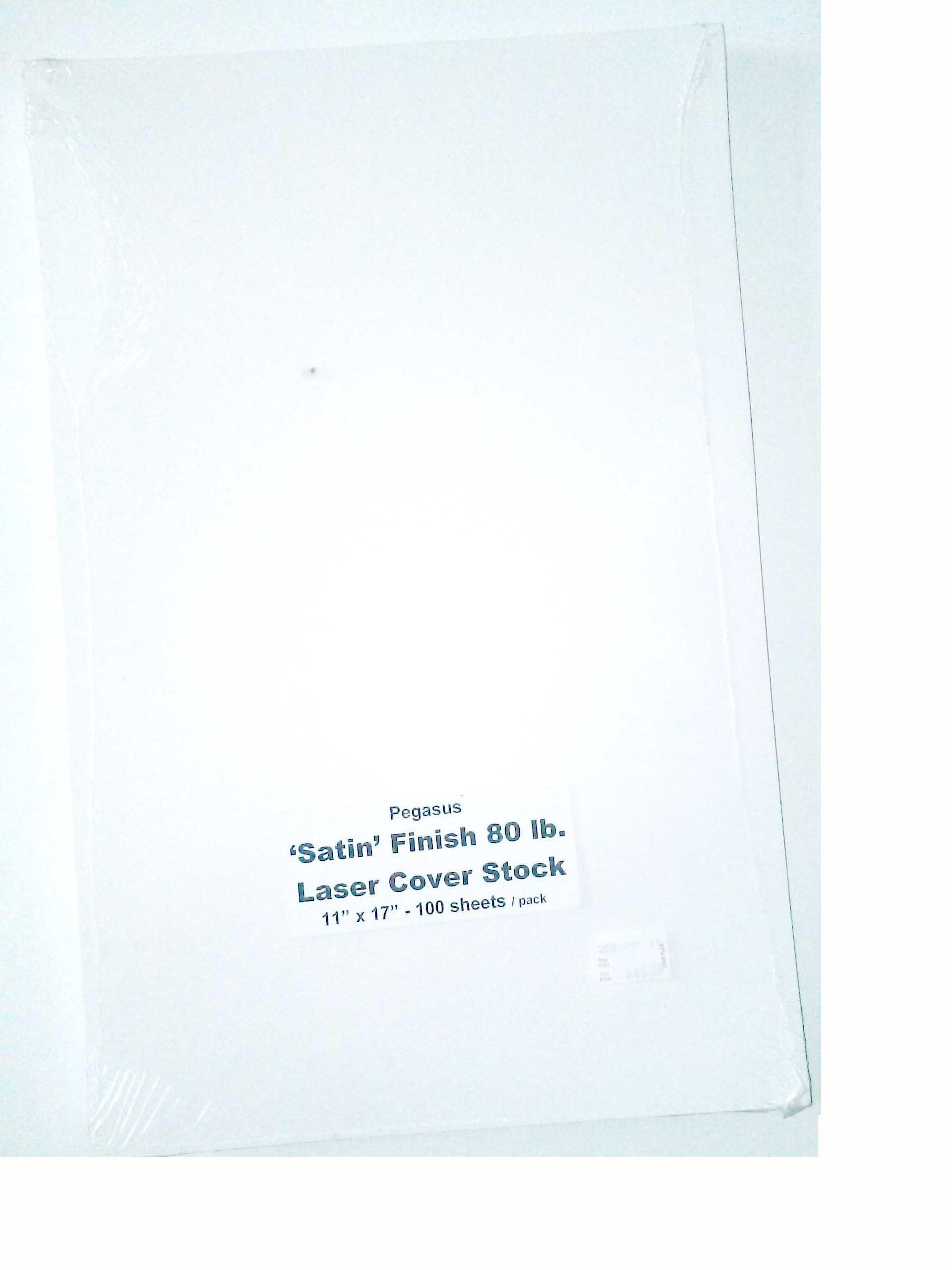 Pegasus 'Satin'' Finish 80 lb Laser Cover Stock 11'' x 17'' 100 Sheets