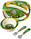 John Deere's Johnny Tractor and Friends - Juego de 4 piezas de alimentación, color verde, café, amarillo, azul, blanco, rojo