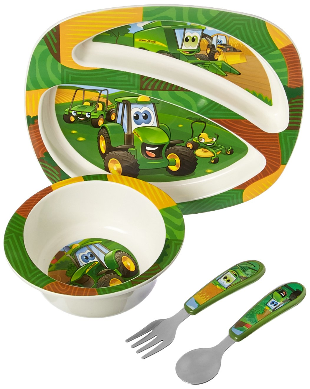 John Deere's Johnny Tractor and Friends Feeding 4 Piece Set, Green, Brown, Yellow, Blue, White, Red by John Deere's