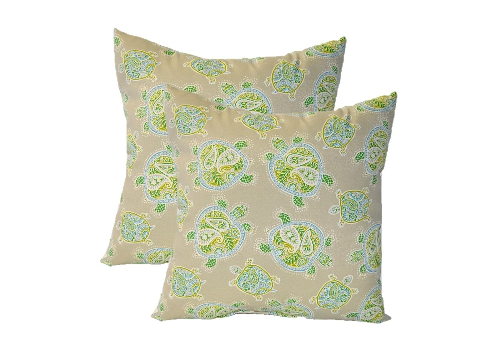 Set of 2 - Indoor / Outdoor Square Decorative Throw / Toss Pillows - Tommy Bahama Tranquil Turtles Jungle - Tan, Blue, Green - Choose Size (22'')