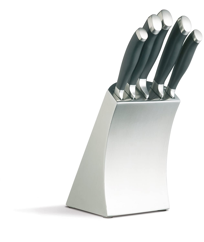 Uncategorized Kitchen Craft Knives kitchencraft masterclass trojan 6 piece designer stainless steel knife set and block amazon co uk kitchen home