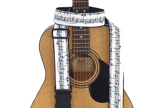 Notas musicales guitarra correa. Negro y Blanco. Hecho a mano de accesorios para guitarra