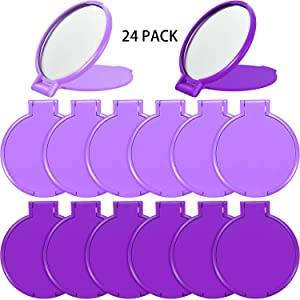 24 Pieces Mini Folding Mirror Compact Portable Round Mirror Makeup Mirror for Women Girls Travel Daily Use, 2 Colors (Dark Purple, Light Purple)