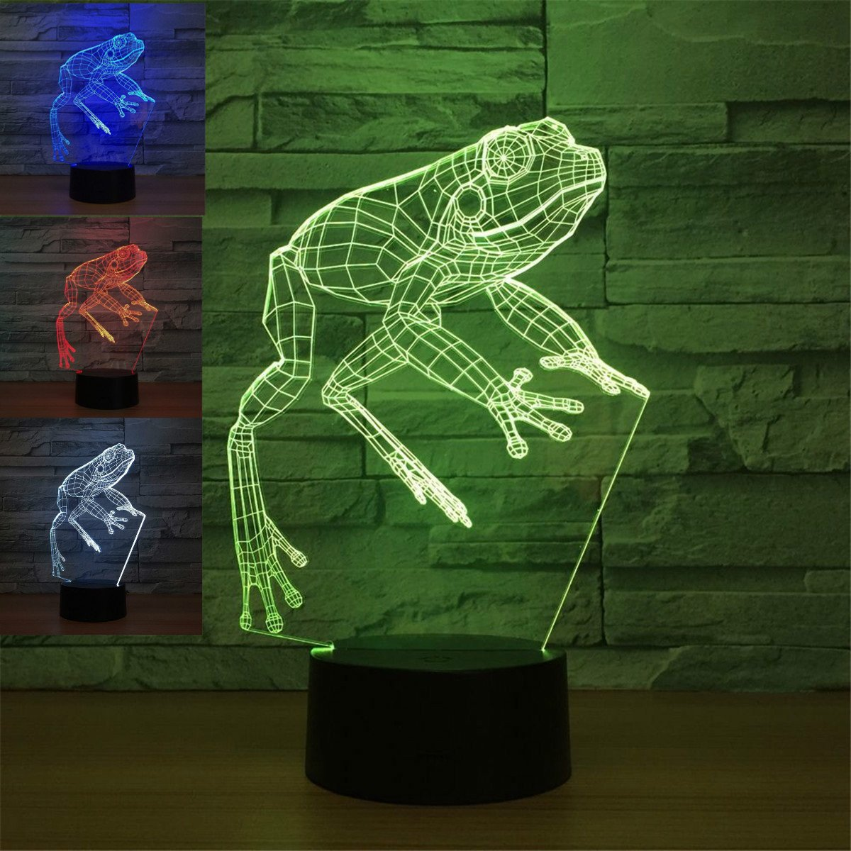 3D Animal Frog Night Light Table Desk Optical Illusion Lamps 7 Color Changing Lights LED Table Lamp Xmas Home Love Brithday Children Kids Decor Toy Gift