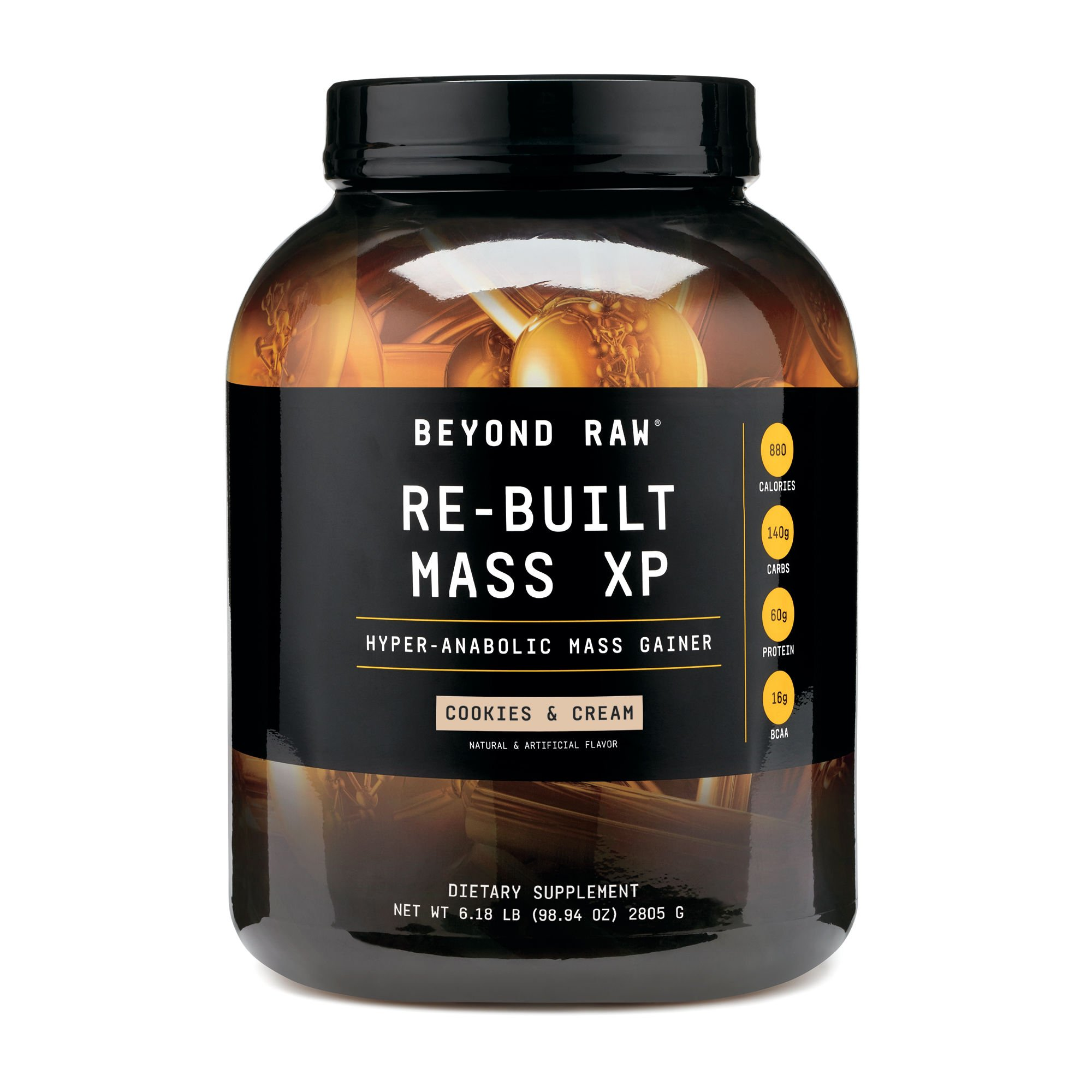 Beyond Raw Re-Built Mass XP, Cookies and Cream, 11 Servings, Contains 880 Calories, 140g of Carbohydrates and 60g of Protein