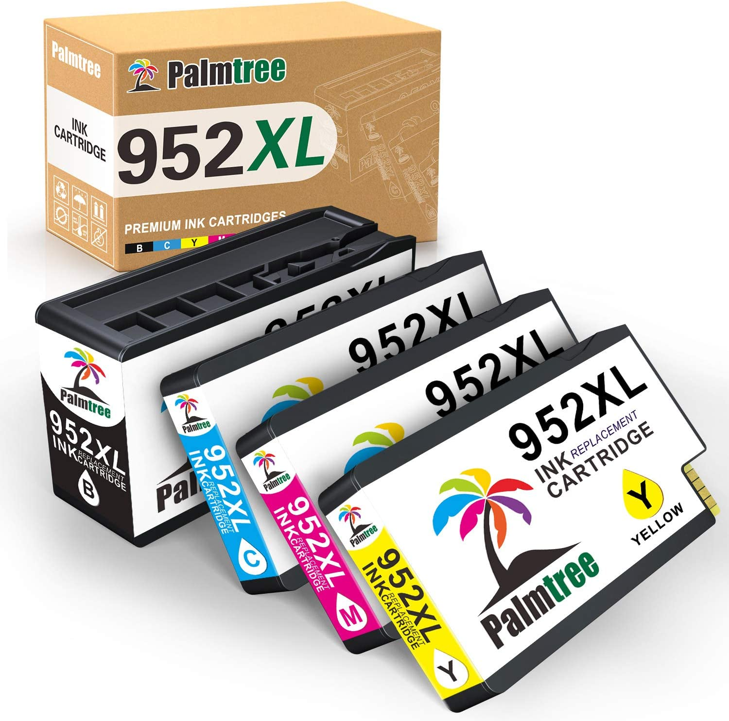 Palmtree Compatible Ink Cartridges Replacement for HP 952XL use with HP OfficeJet Pro 7740 7720 8702 8710 8715 8720 8725 8730 8740 8210 Printer, 4 Pack (1 Black, 1 Cyan, 1 Yellow, 1 Magenta)