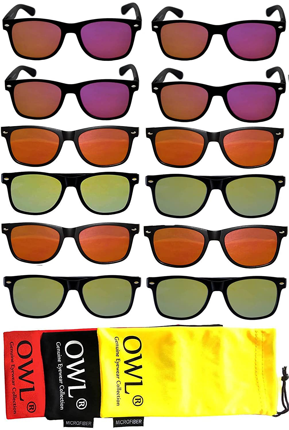 ad32a02886 Amazon.com  Owl Retro Vintage Sunglasses Colorful Mirror Lens Matte Frame  10 Pairs  Clothing