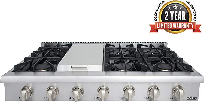 Thor Kitchen 48 Stainless Steel Gas Rangetop Cover Gas Stove Top Cooker Cooktops with with 6 Sealed Burners and 7 Control Knob Without LP Conversion Kit HRT4806U 2-years-warranty