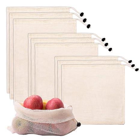 LIVEGREEN 9 bolsas reutilizables de malla de algodón ...