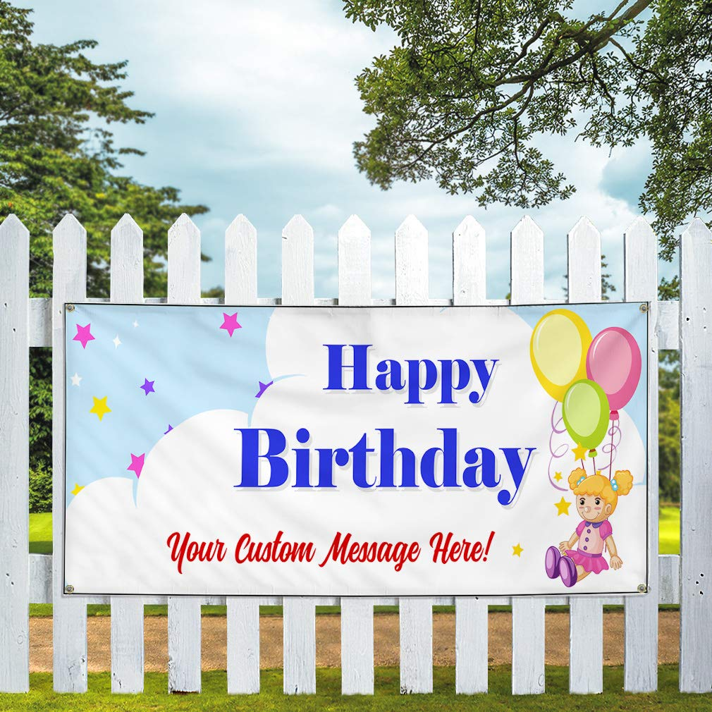 Custom Vinyl Banner Sign Multiple Sizes Happy Birthday Message I Holidays and Occasions Happy Birthday Outdoor Blue 10 Grommets 60inx144in One Banner