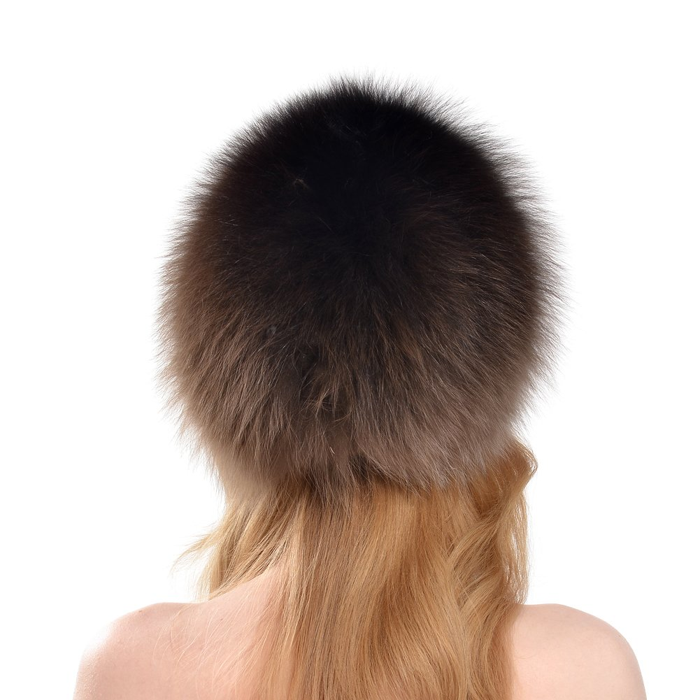 BeadChica Women Fox Fur Winter Hat- Luxurious Warm Skiing Hats Cap For Girls Winter Beanie (Khaki) by BeadChica (Image #3)