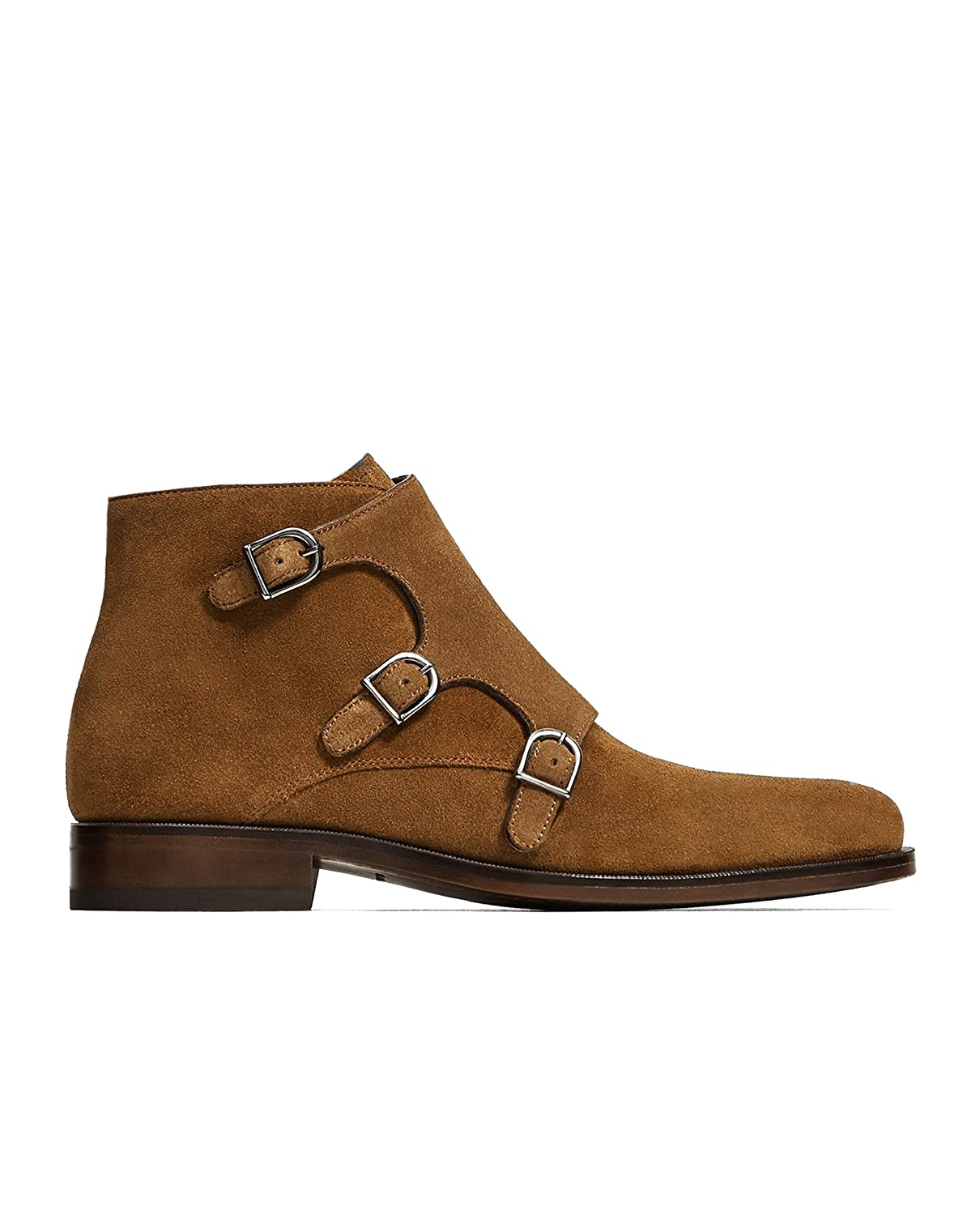 25783bb76c7cd Zara Men Brown leather buckled ankle boots 5631/202 (45 EU | 12 US | 11  UK): Amazon.ca: Clothing & Accessories