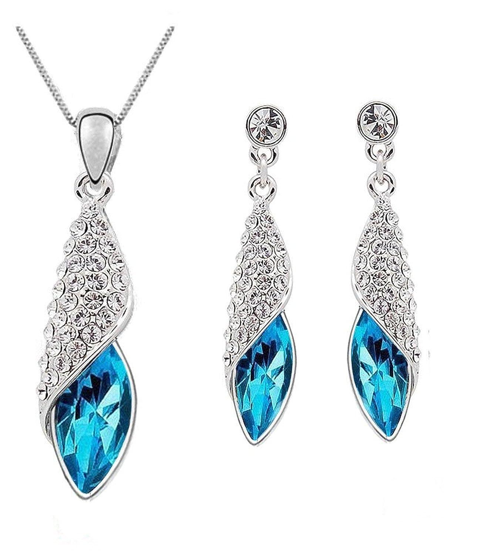 Buy Shining Diva Fashion Blue Crystal Pendant Necklace Jewellery ...