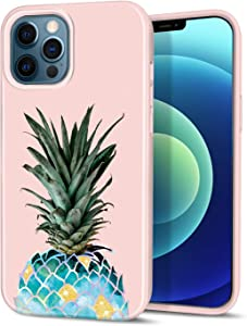 """CAOUME Compatible with iPhone 12 iPhone 12 Pro Case Pineapple Marble Design Sparkly Glitter Protective Stylish Slim Thin Cute Holographic Cases for Apple Phone 6.1"""" 2020, Soft TPU Silicone Bumper"""