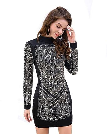 7efe1619075a Missord women sexy O-neck long sleeve rhinestone zipper geometry mini dress  black XS