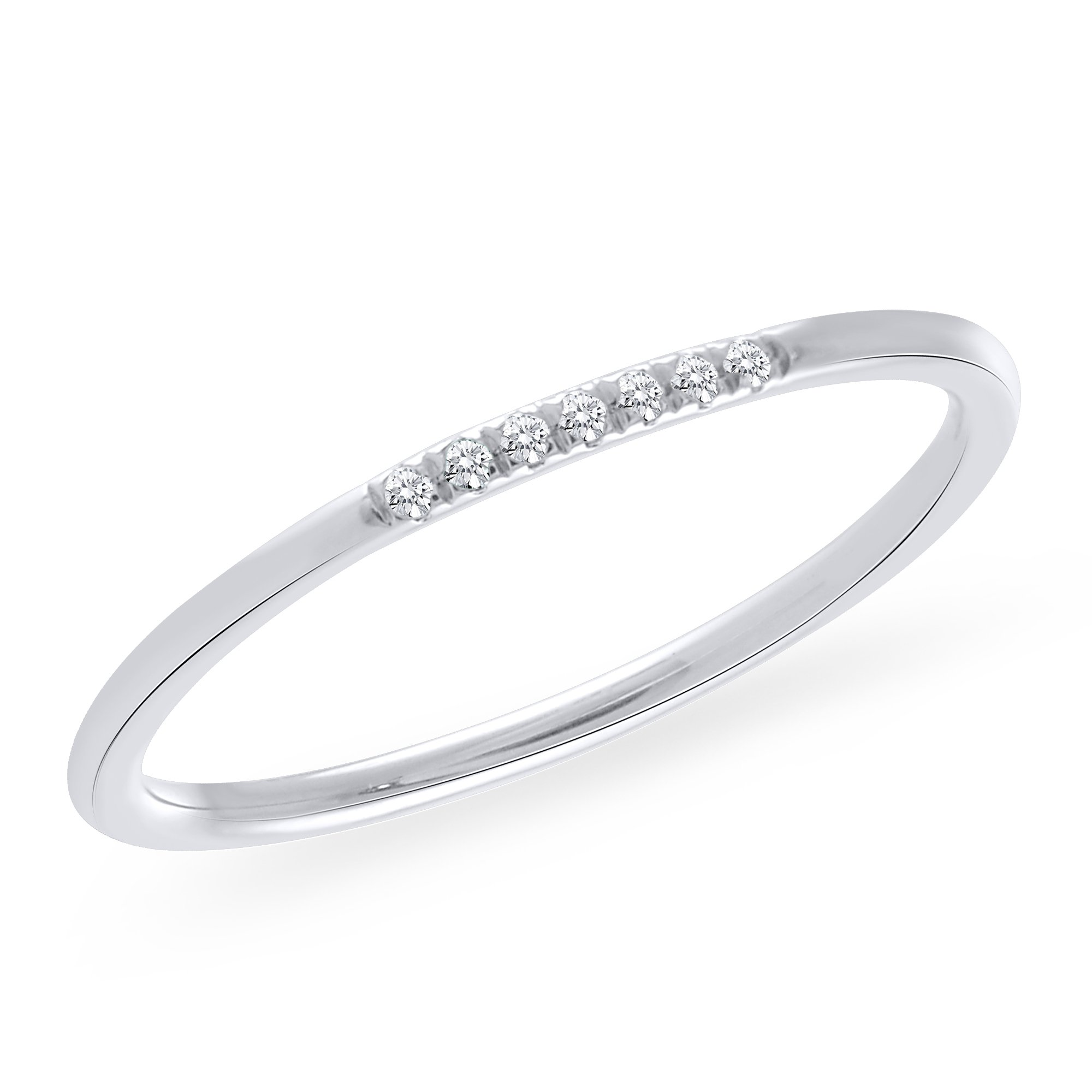 925 Sterling Silver 0.05 CT. Natural Real Round Cut Diamond 7-Stone Anniversary Wedding Band For Women