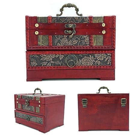 HJR decorativo caja del tesoro antiguo de madera Retro Flor Grandes contenedores de almacenamiento tallada con