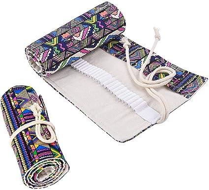 72 Hoyos Estuche Bolsa de Lapices de Lona para Estudiante Enrollable Portalápices Caja Lapices Estilo de Bohemia: Amazon.es: Oficina y papelería
